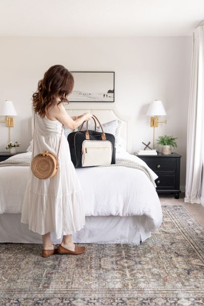 Home and Travel Finds with Walmart | quilted weekender bag, round rattan woven straw crossbody bag, loll Layla olive charcoal rug under bed