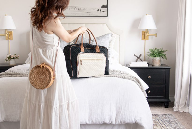 Home and Travel Finds with Walmart   quilted weekender bag, round rattan woven straw crossbody bag, loll Layla olive charcoal rug under bed