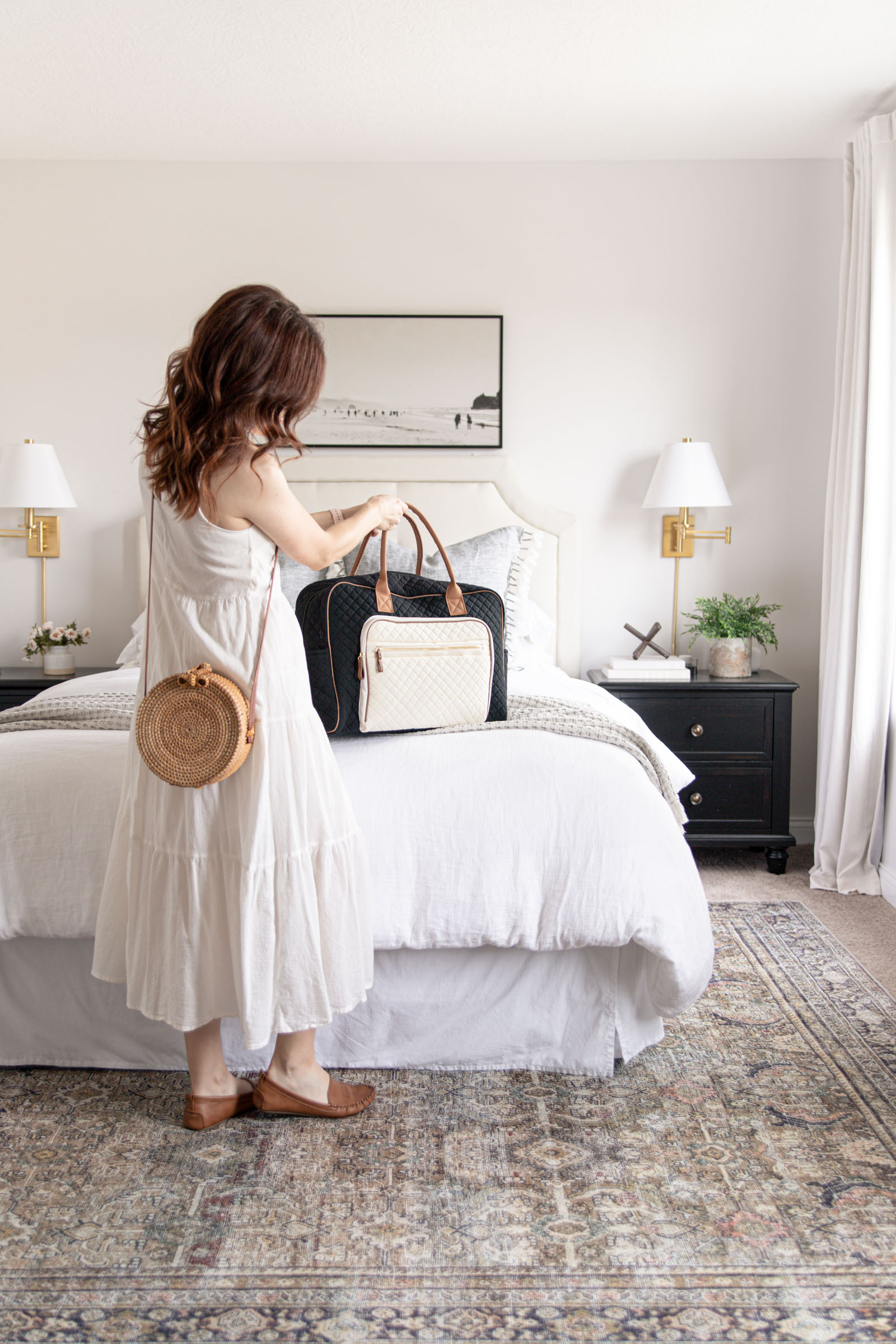 Affordable Hosting and Travel Finds with Walmart | quilted weekender bag, round rattan woven straw crossbody bag, loll Layla olive charcoal rug under bed