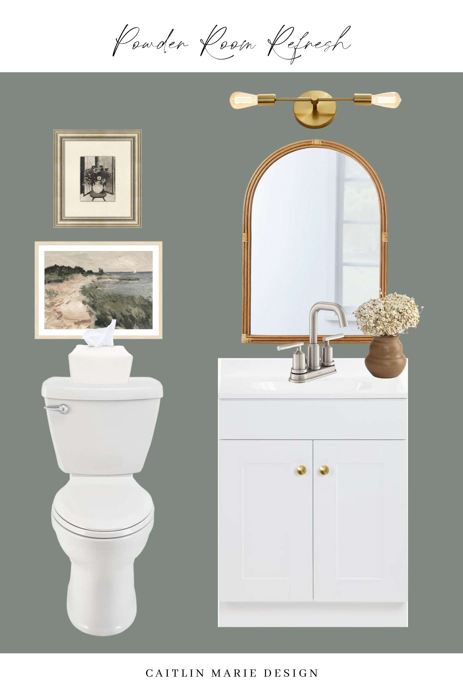 white bathroom vanity, brushed nickel faucet, arched mirror, stacked artwork, mid tone green walls
