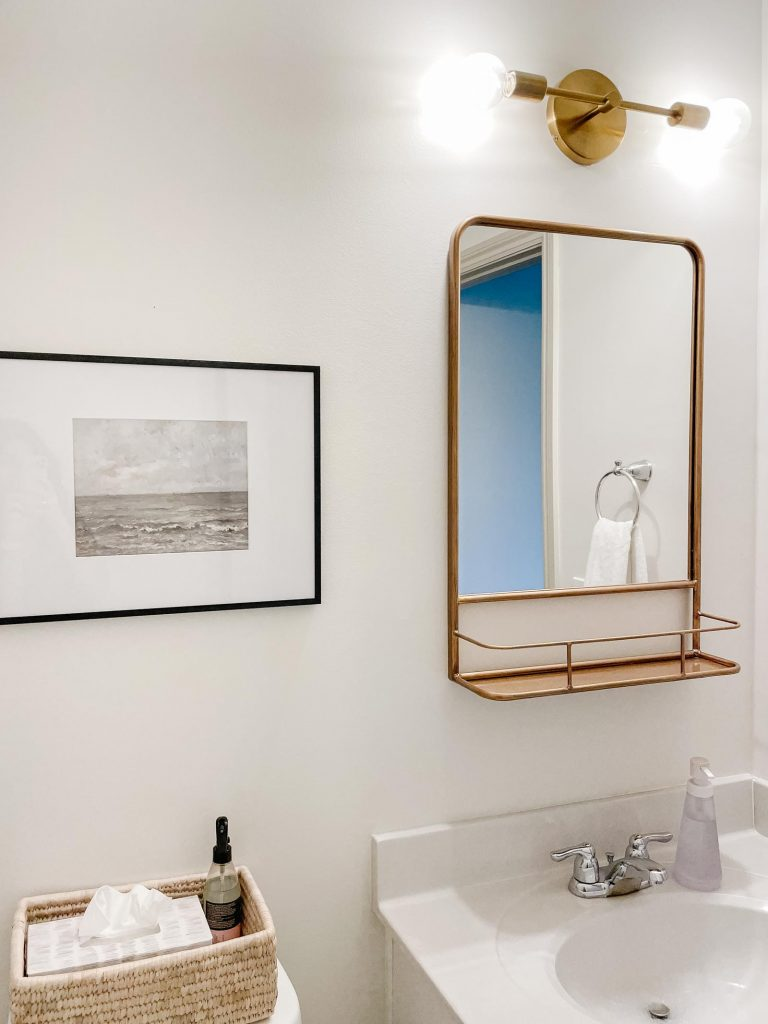 Powder Room Before - pharmacy mirror, modern brass light fixture, close up