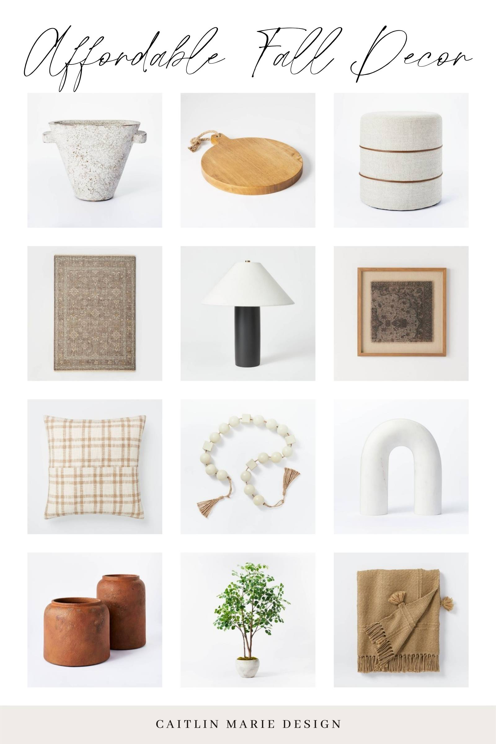 Studio McGee Fall Decor Finds 2021 - Target affordable fall decor round up with sculptural vase, round bread board, bead garland, etc