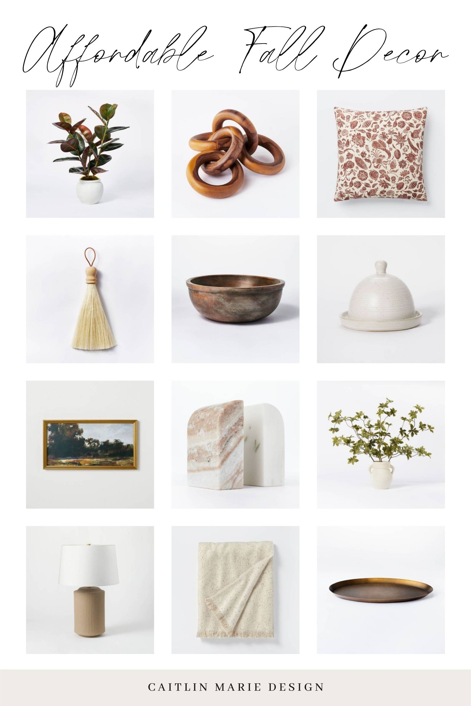 Studio McGee Fall Decor Finds 2021 - Target affordable fall decor round up with wood chain, fall throw pillow, framed landscape, etc