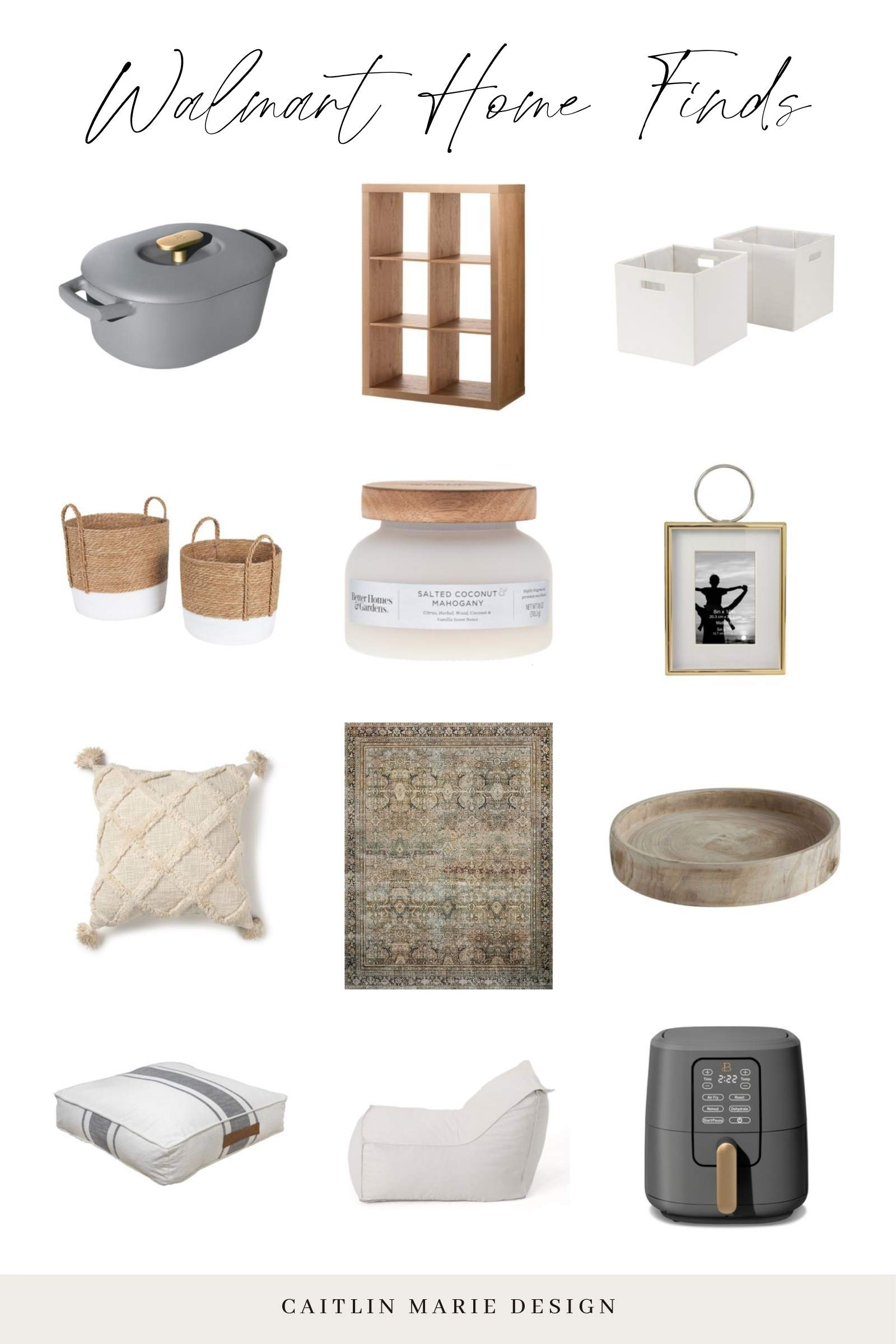 Walmart home finds - beautiful air fryer drew Barrymore, budget friendly storage baskets, loloi Layla olive charcoal, pillow