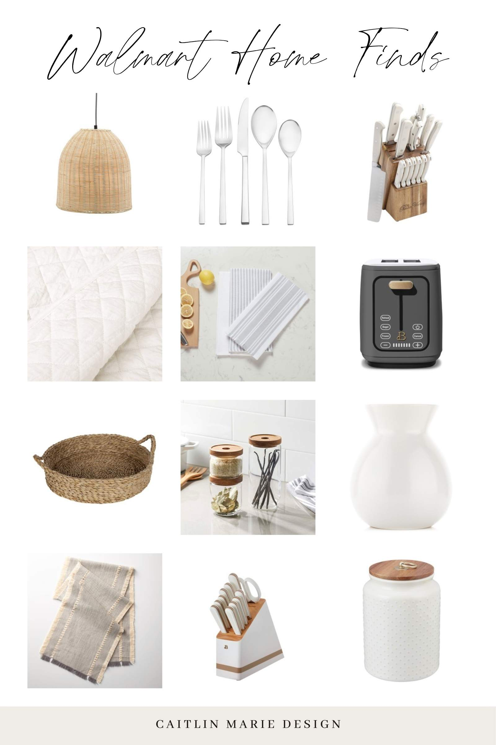 Walmart Home affordable hosting finds - beautiful toaster drew Barrymore appliances, woven tray, canister, affordable white quilt
