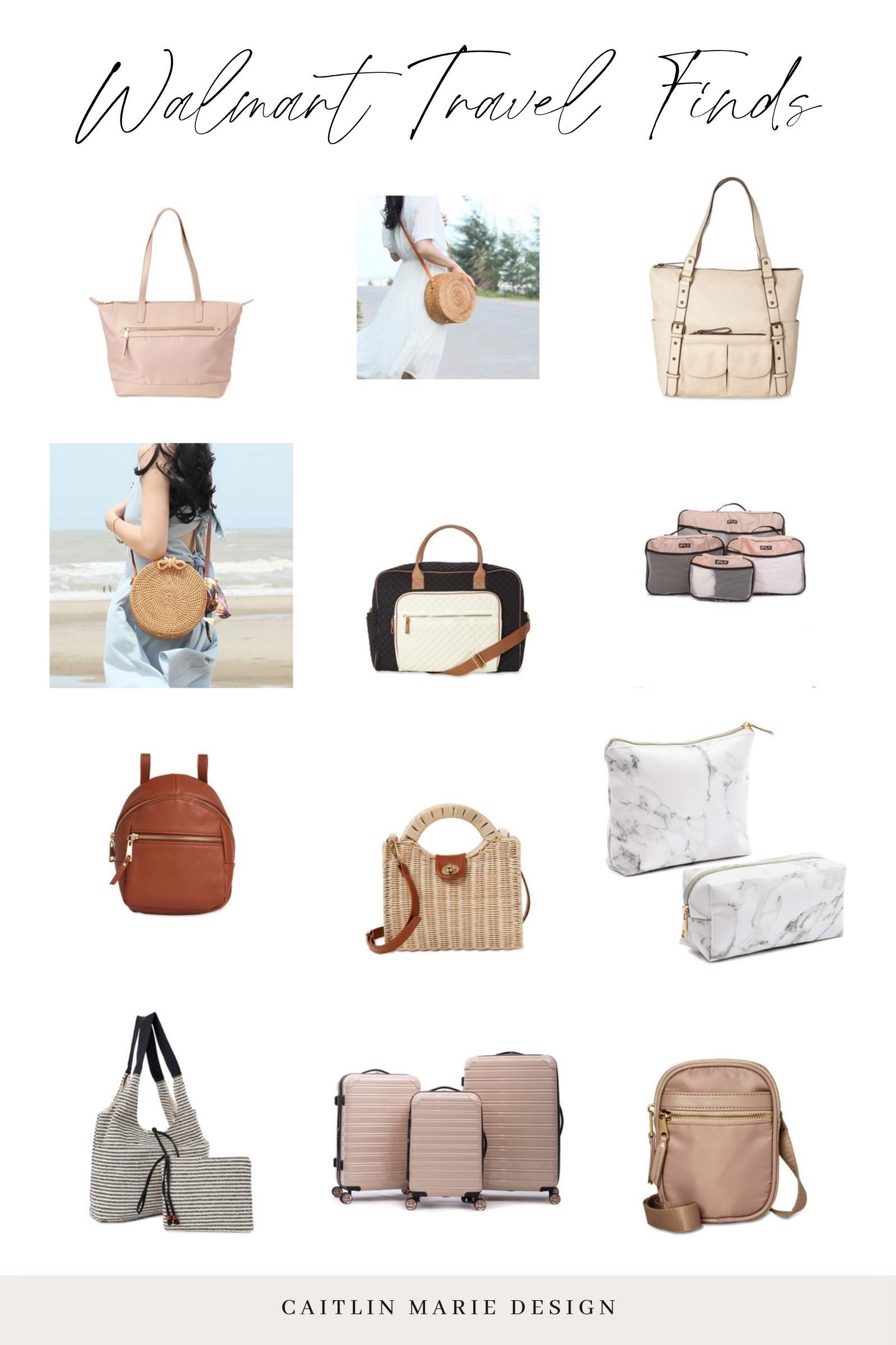 Walmart travel accessories - straw rattan bag, pink luggage, beach bag, makeup bag, leather backpack