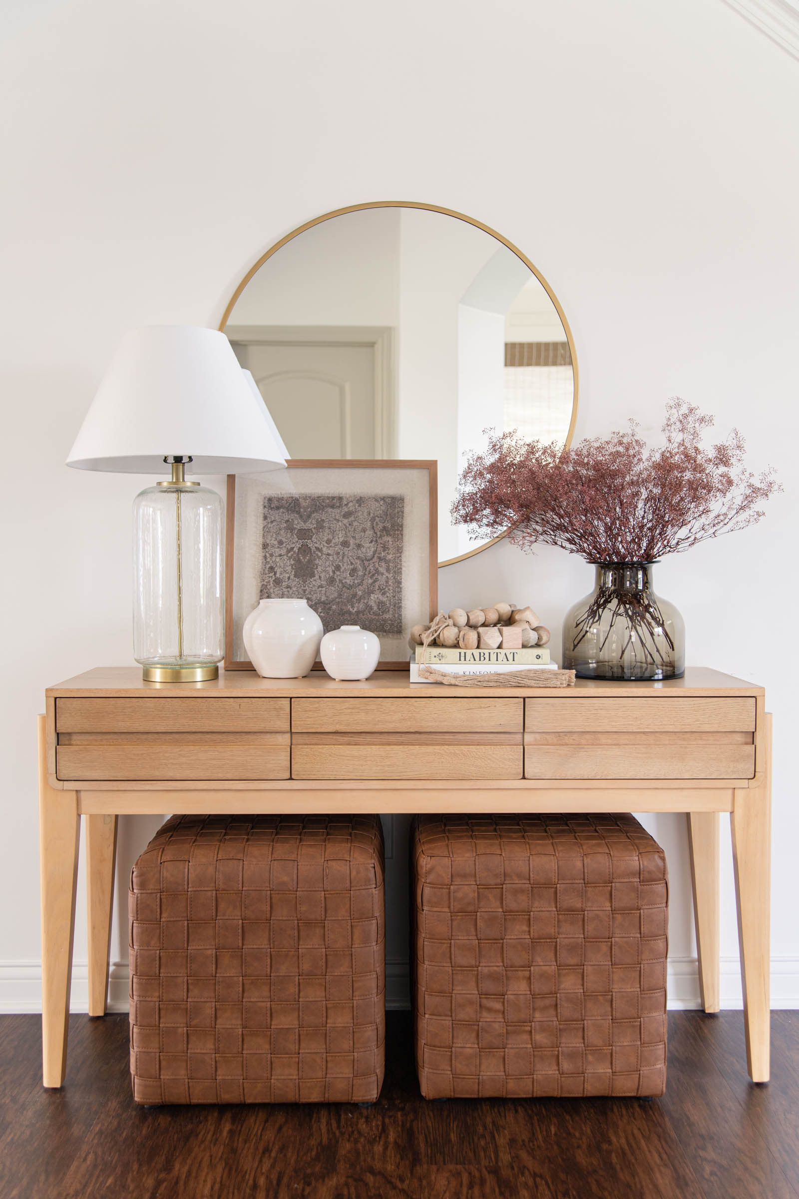 Cozy Aesthetic Fall Home Decor Finds | entryway console, Harriman wooden console table, faux leather woven cube, smoked glass vase Studio McGee, mauve dried florals