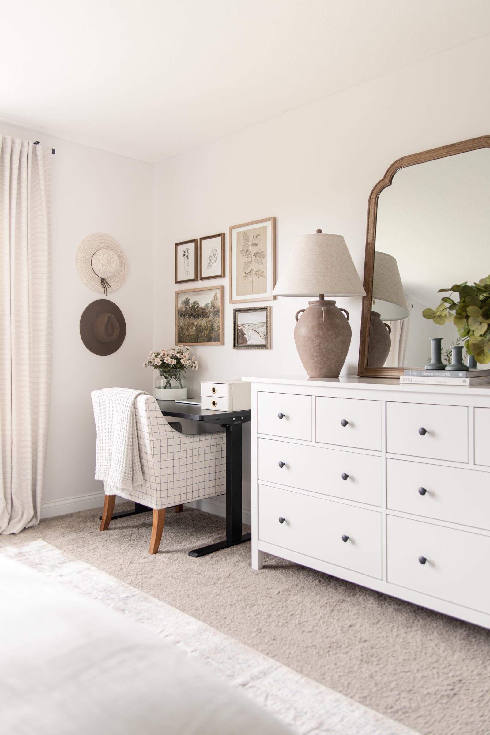 wide view of dresser and desk in bedroom, ikea hemnes 8 drawer dresser white, French country mirror, large jar lamp