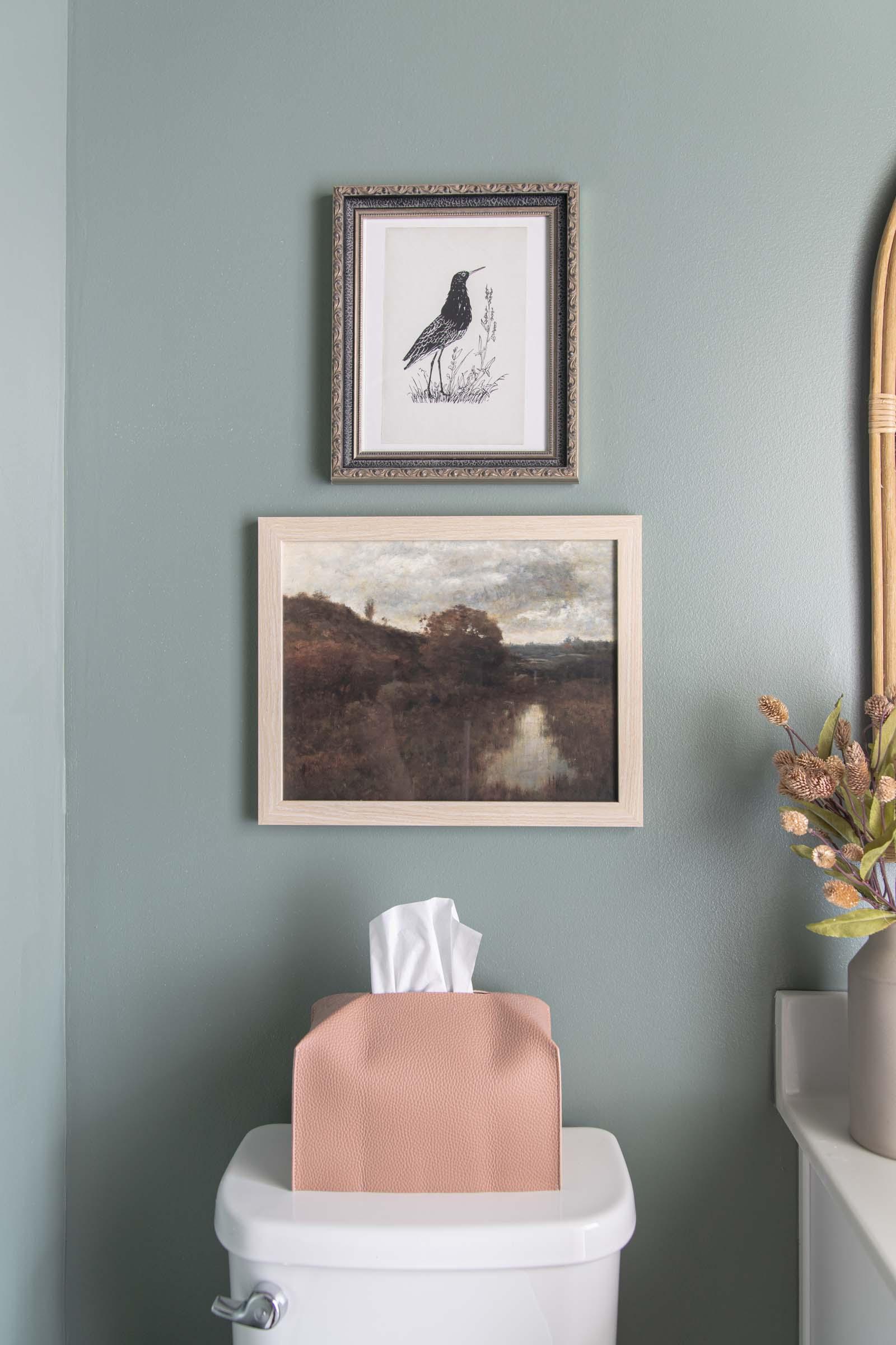 vintage artwork, blackbird art print, autumn landscape printable art, leather tissue box cover