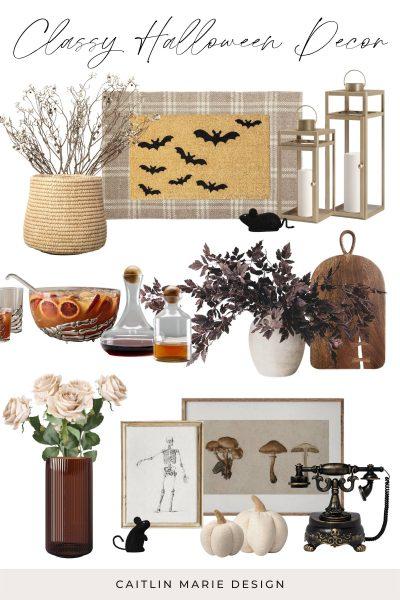 classy Halloween, neutral minimalist Halloween decor, spooky branches, creepy vintage Halloween party, Halloween printable artwork, purple leaf branch, Halloween punch bowl, gold lanterns for porch