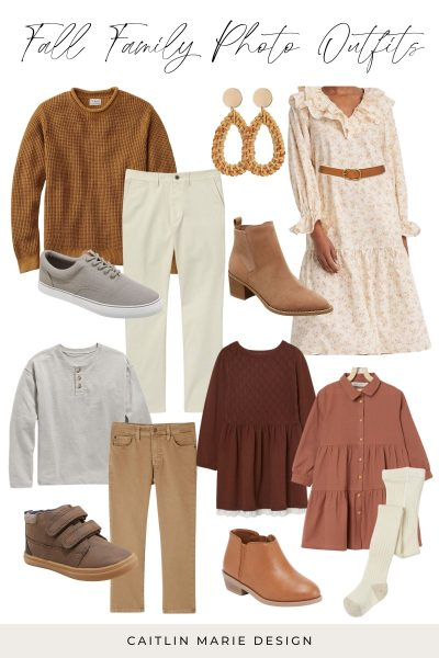 Family Photo Outfits for Fall Portraits | floral long sleeve dress, mens brown sweater, rattan earrings, girls rust mauve dress, cream tights, toddler girl leather boots, boys gray henley