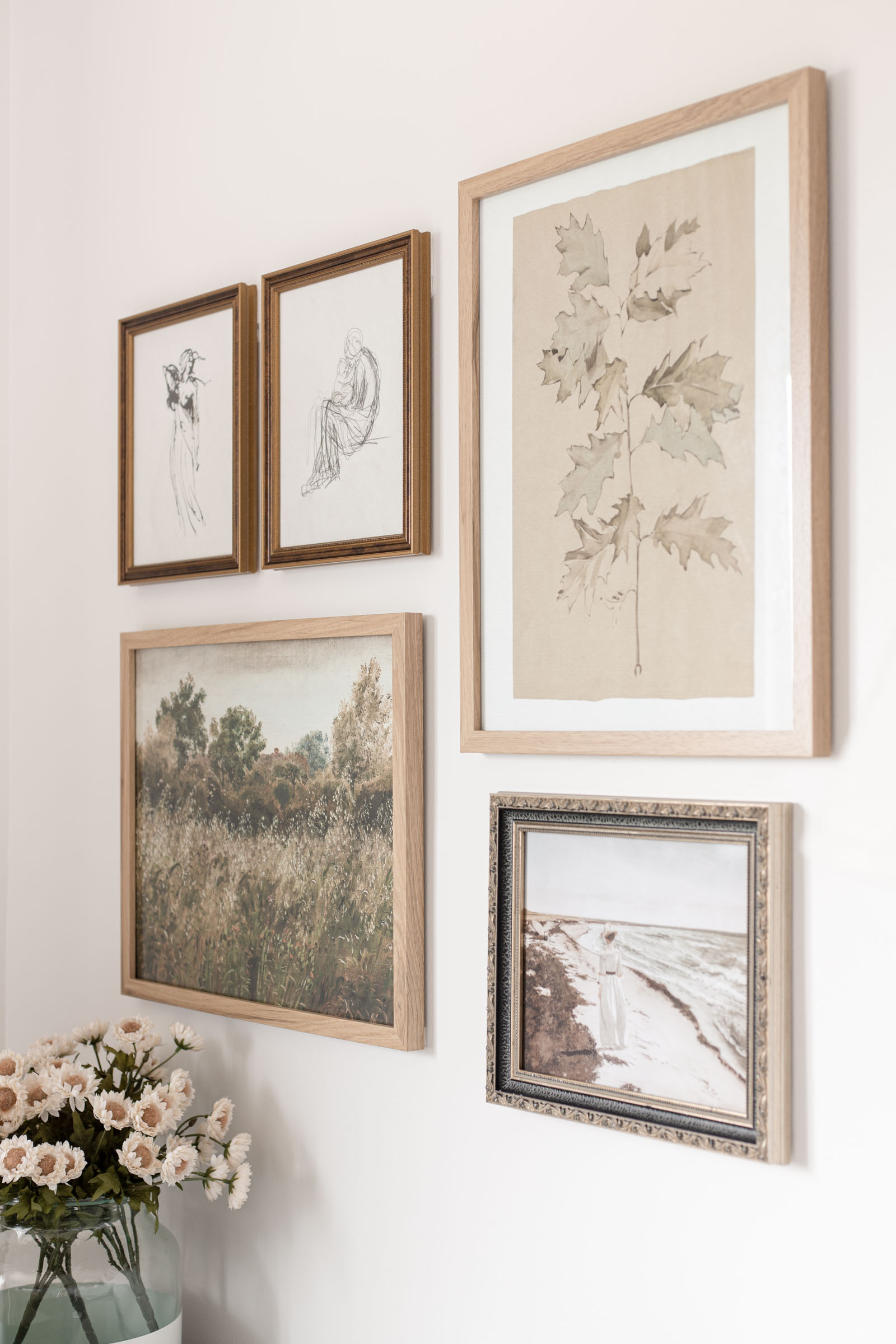Bedroom Office Nook (and Vintage Art Gallery Wall) | poetto vase, collected antique art gallery wall